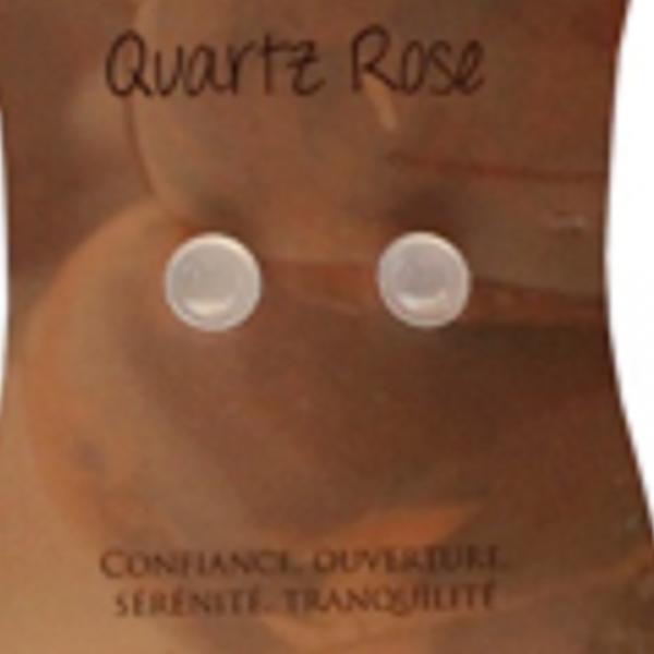 Boucles d' oreilles cabochons quartz rose