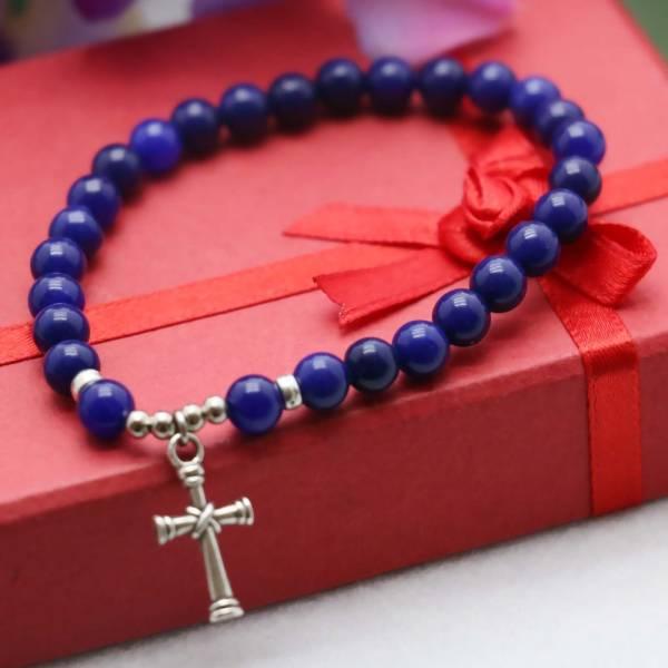 Bracelet calcite lapis lazuli - Croix