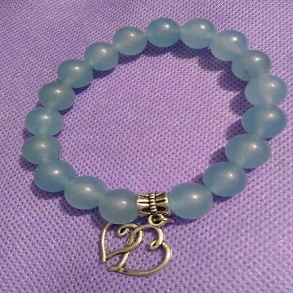 Bracelet perles aigue-marine avec coeur