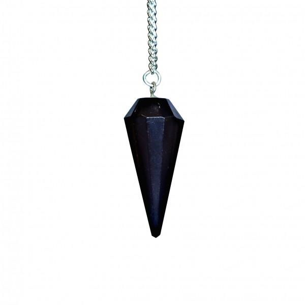 Pendule à facettes Obsidienne Noire